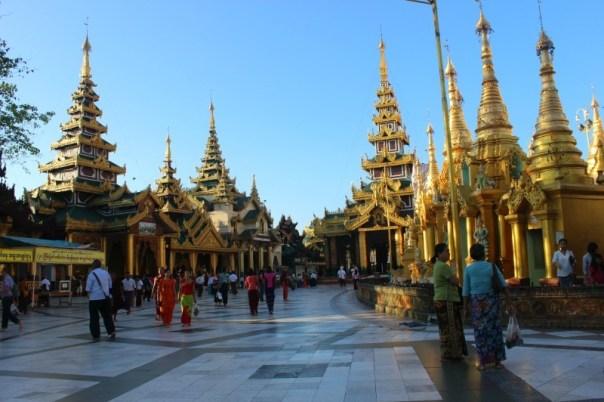 Shwedagon Pagoda shrines in Yangon Myanmar