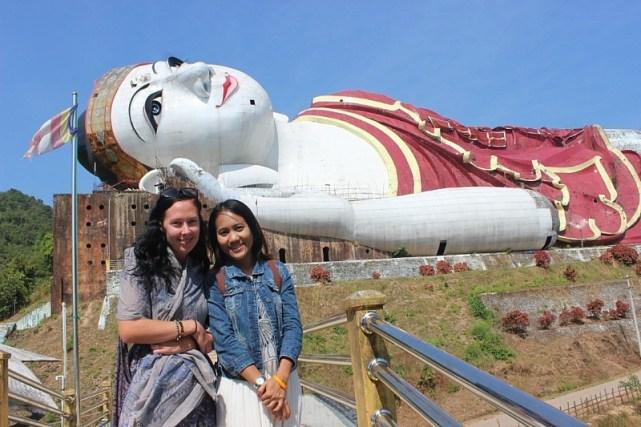 Meeting a new friend at the World's largest Reclining Buddha near Mawlamyine