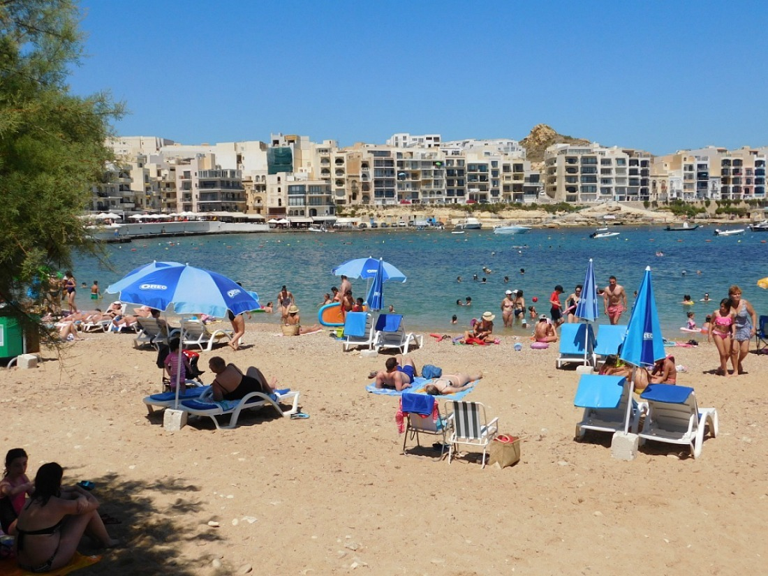 Beach in Marsalforn, Gozo Malta