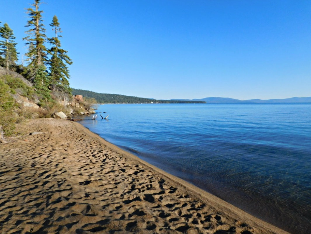Hanging out by the beach in Lake Tahoe during Month Twenty Eight of Digital Nomad Life