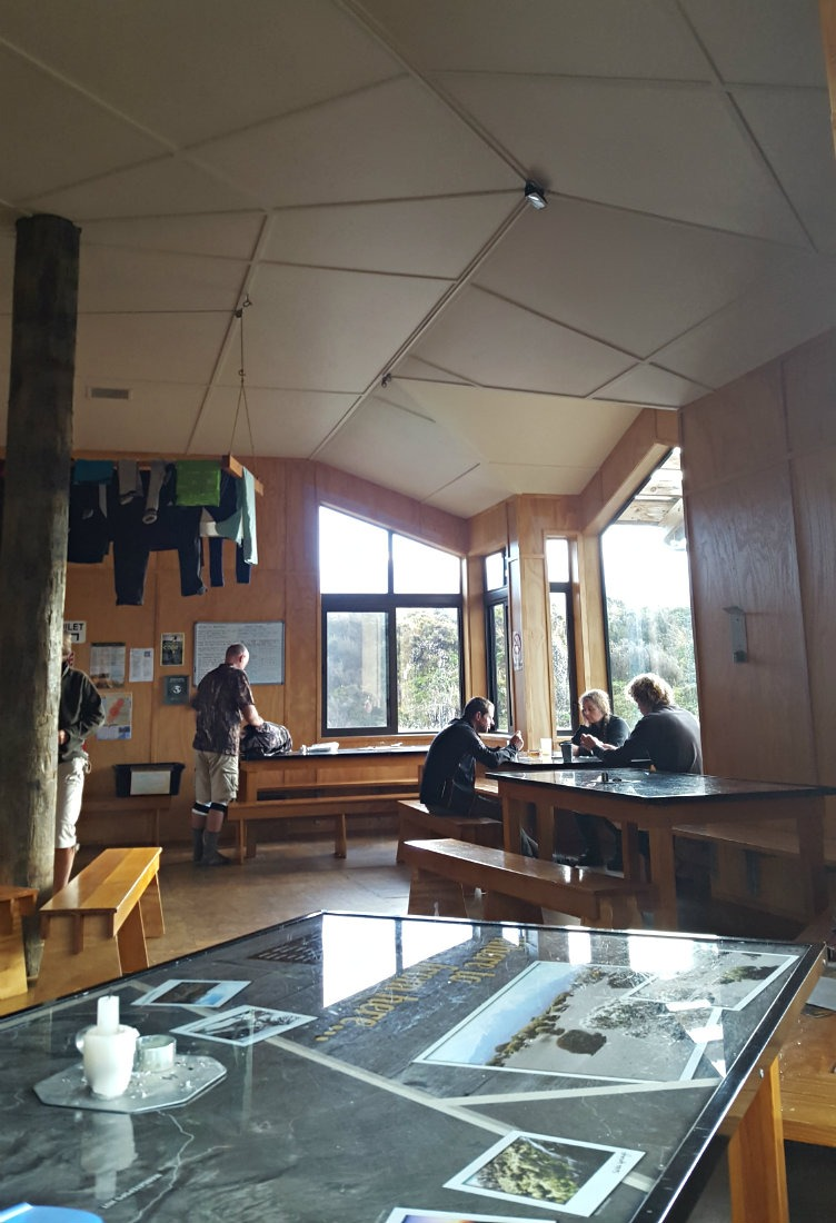 Inside the Waihohonu Hut on the Tongariro Northern Circuit