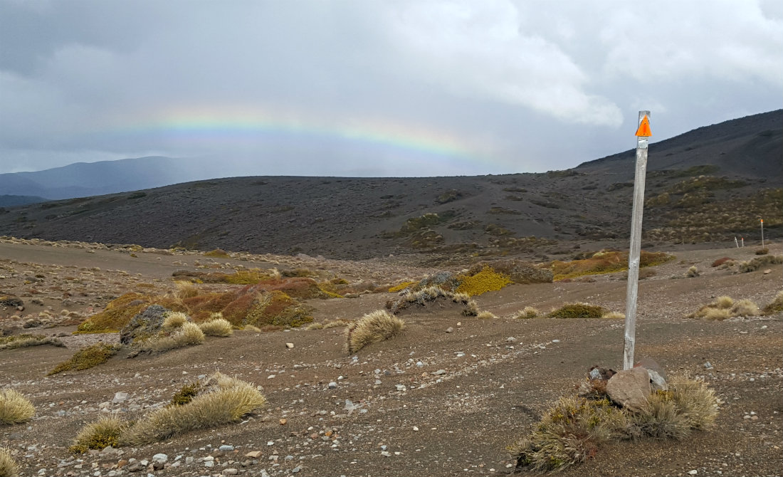 Rainbows and gravel fields on the Tongariro Northern Circuit