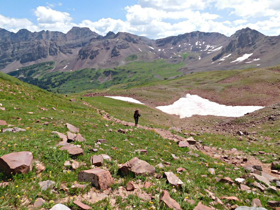 Starting to ascend West Maroon Pass on the hike from Aspen to Crested Butte in Colorado