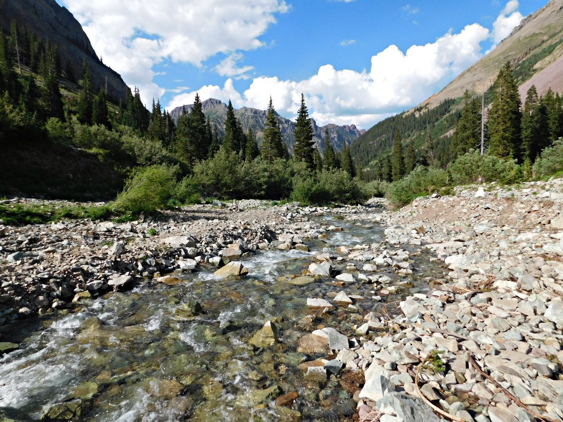 River crossing on the hike from Aspen to Crested Butte in Maroon Bells-Snowmass Wilderness