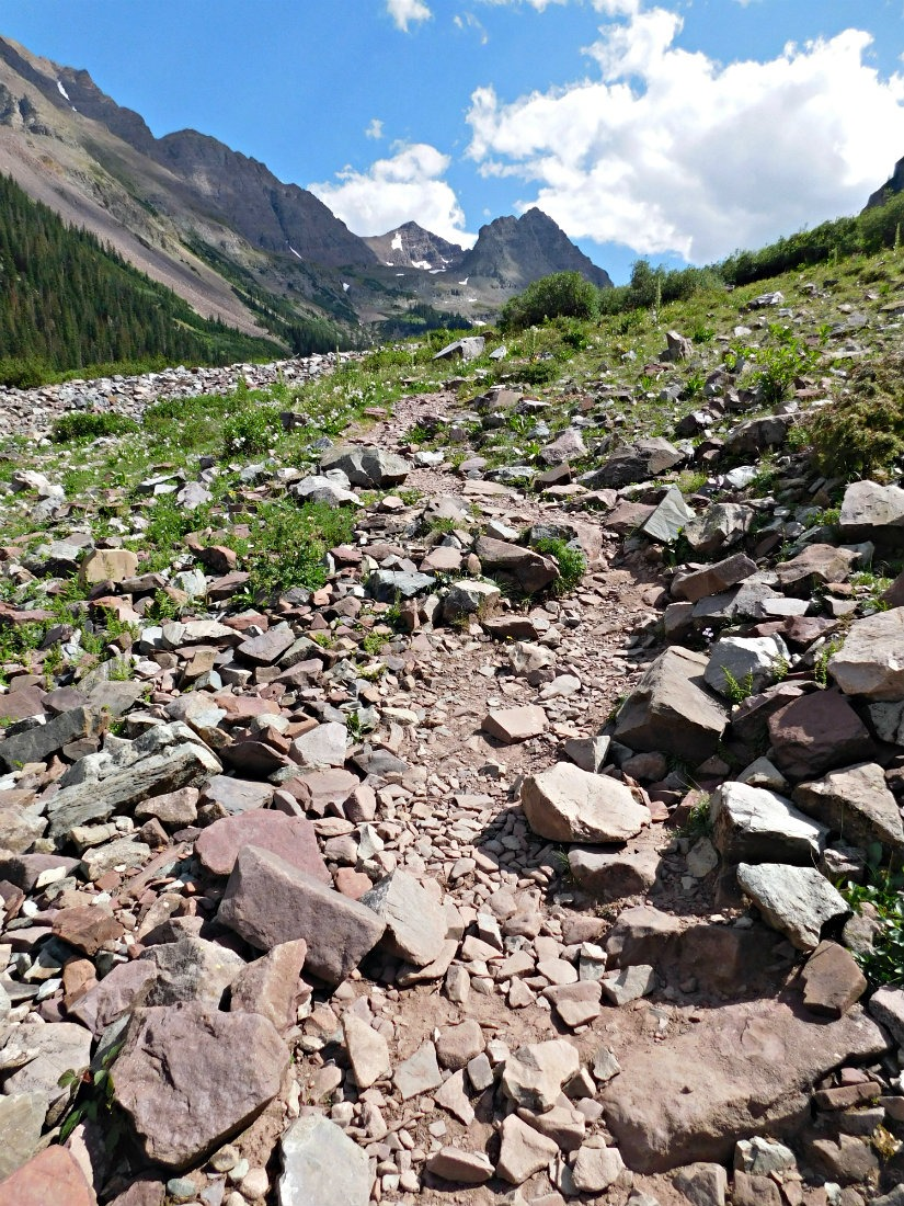 Starting to ascend to West Maroon Pass on the hike from Aspen to Crested Butte in Maroon Bells-Snowmass Wilderness