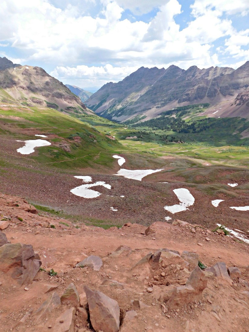 Ascending to West Maroon Pass on the hike from Aspen to Crested Butte in Maroon Bells-Snowmass Wilderness