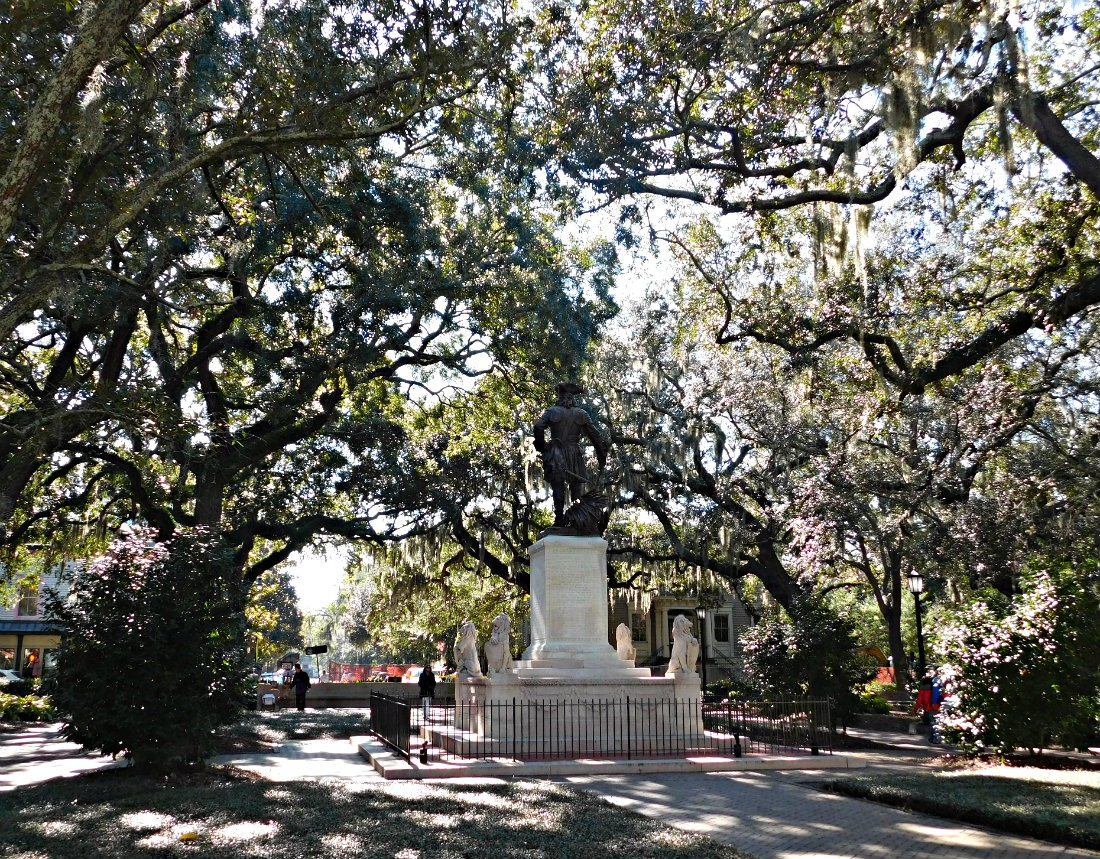 Moss draped oaks in one of Savannah's historic town squares