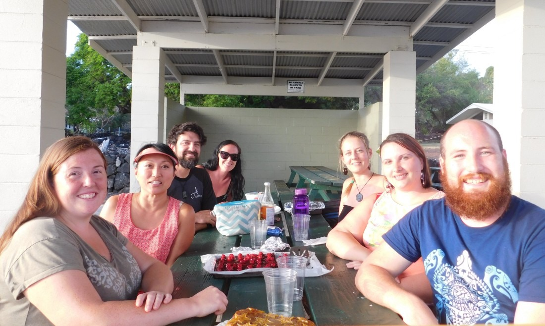 Help X host and helpers at Ho'okena Beach in Hawaii