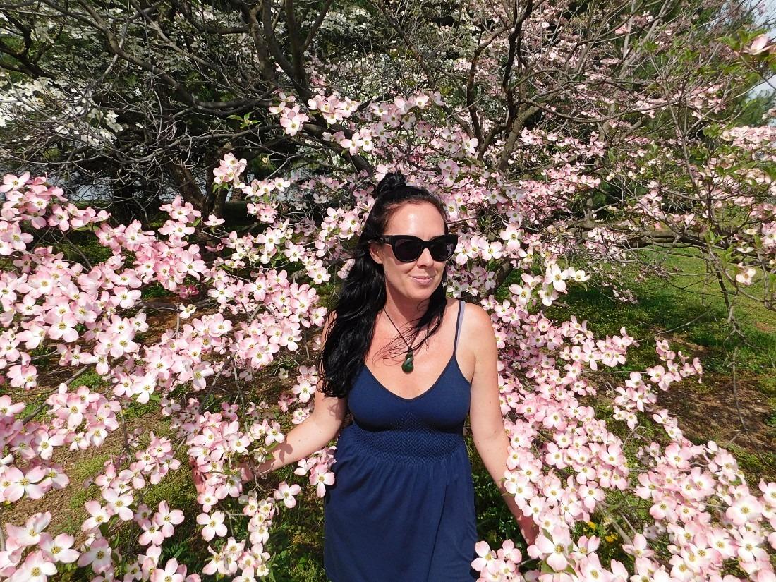 Me with dogwood tree in Washington D.C.