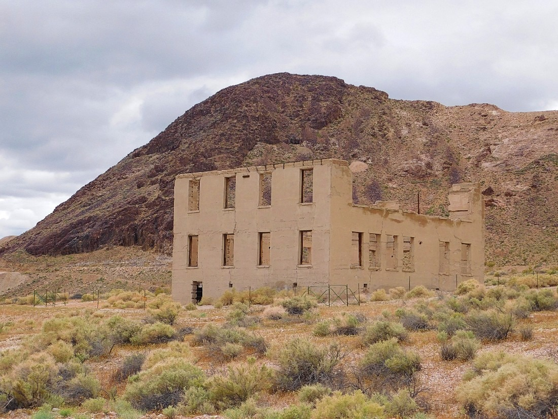 Brick building in ruins in Rhyolite Ghost Town in California