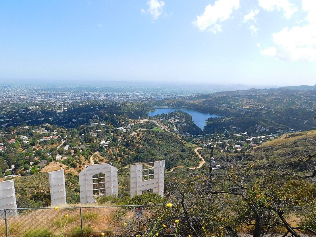 View from back of Hollywood sign in LA
