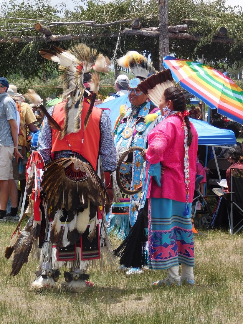 Colorful dress at Taos Pueblo Pow Wow in New Mexico