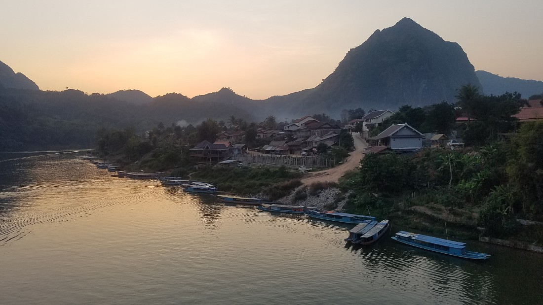 Sunset over Nong Khiaw in Laos