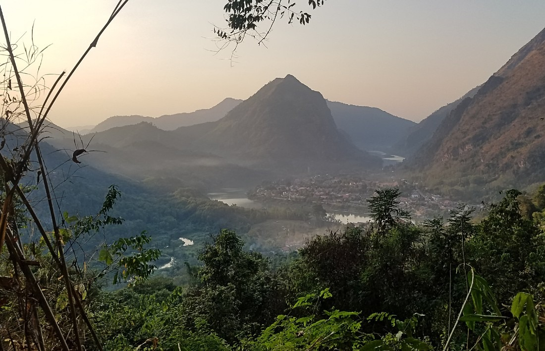 View over Nong Khiaw in Northern Laos