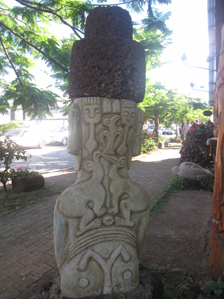 Intricate carvings on the back of a Moai, Easter Island, Isla de Pascua, Chile, South America