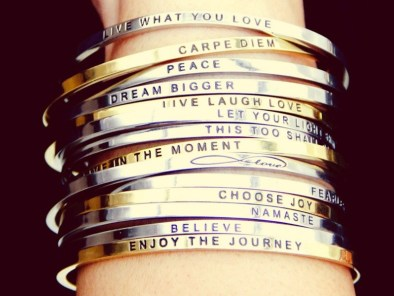 Mantrabands are simple, elegant bracelets with a touch of delicate polish and an uplifting message; promoting a lifestyle of optimism, positivity, mindfulness. Wear your Mantraband every day as your daily reminder, affirmation, and inspiration. Made with love.