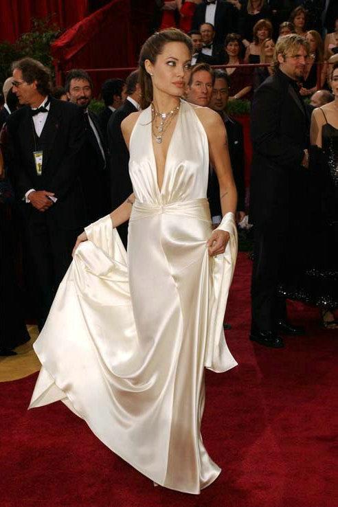 Floor Length Deep V Neck angelina jolie fashion