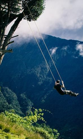 The swing at the  End of the World in Baños, Ecuador.