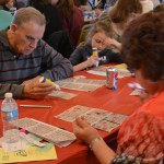 Families participating in designer purse bingo