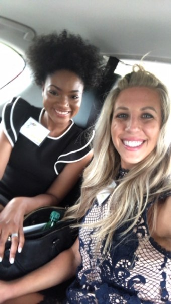 Selfie of N'Crai and Linsey on the way to a Viveve conference