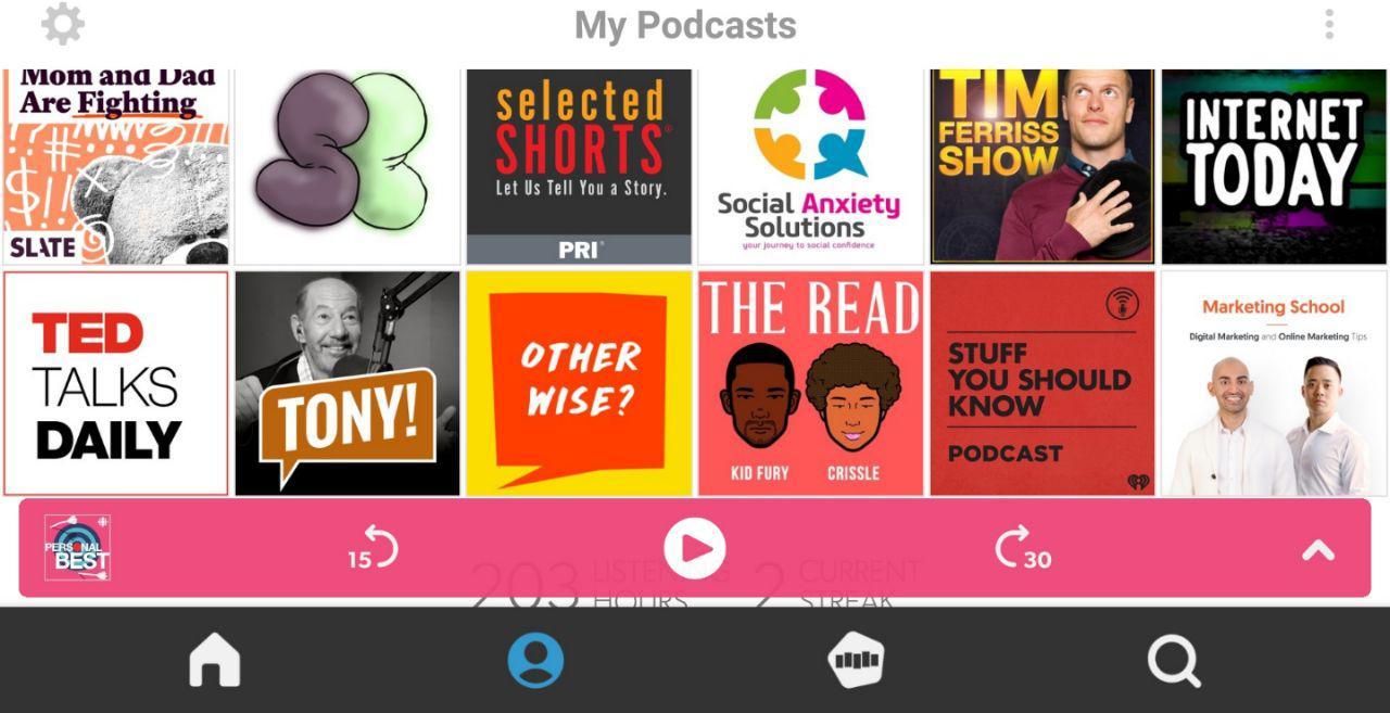 Screenshot of Stitcher Podcast App