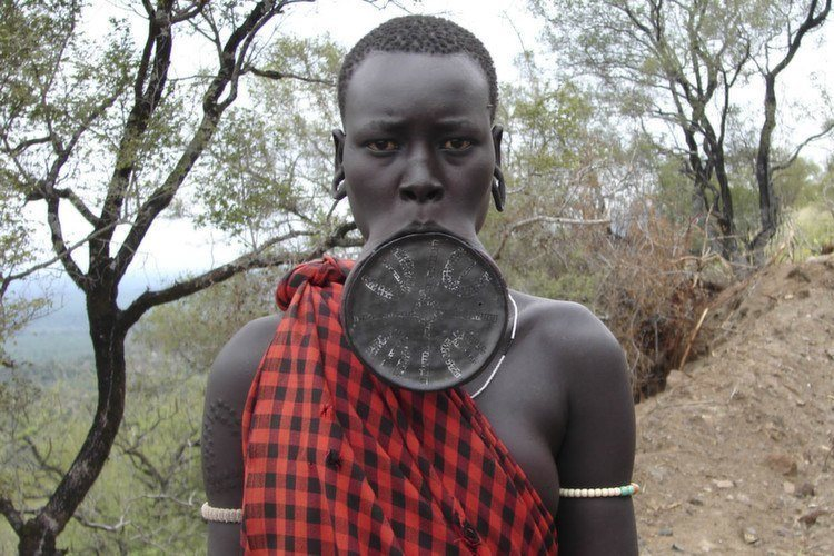 Mursi Woman traditional lip plate