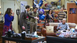 """""""The Celebration Experimentation"""" -- After more than nine years together, the gang finally celebrates Sheldon's birthday, surprising him with a special guest, on the 200th episode of THE BIG BANG THEORY, Thursday, Feb. 25 (8:00-8:31 PM, ET/PT) on the CBS Television Network. Pictured left to right: Mayim Bialik, Jim Parsons, Kunal Nayyar, Sara Gilbert, Kevin Sussman and Adam West Photo: Monty Brinton/CBS ©2016 CBS Broadcasting, Inc. All Rights Reserved"""