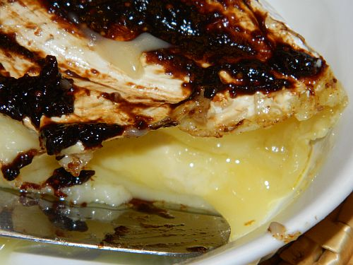 Easy Holiday Appy: Baked Brie with Chocolate Raspberry Balsamic Spread