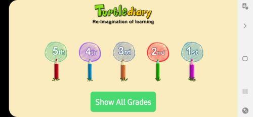 الصفحة الرئيسية لتطبيق Turtle Diary