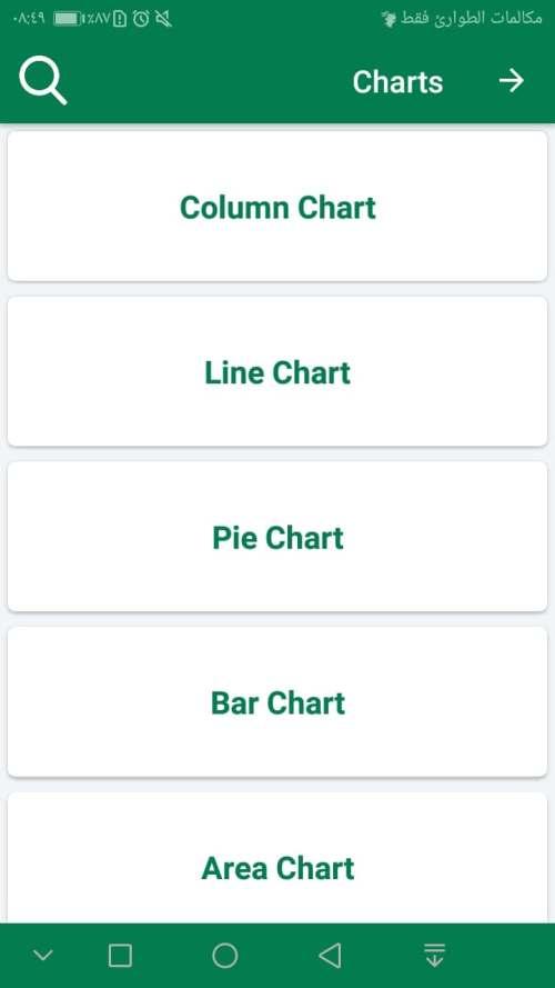 قسم Charts لـ تعليم الرسوم البيانية في مايكروسوفت اكسيل