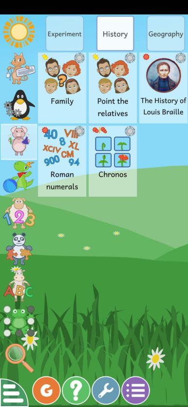 تعليم التاريخ في لعبة GCompris