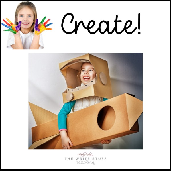 Creativity at home can include building, playing, art, writing.
