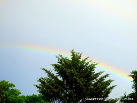 half-arc of a rainbow at mid-afternoon in the eastern sky