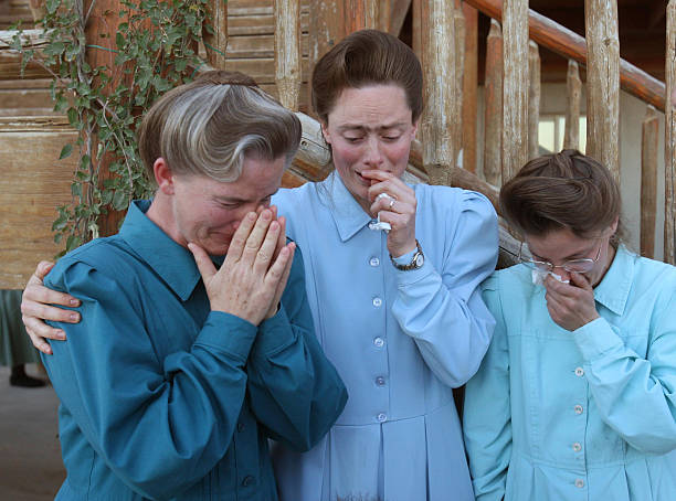 Crying women from the FLDS community