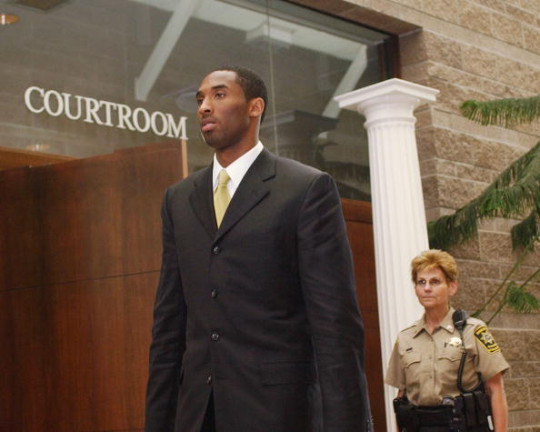 Los Angeles Lakers basketball player Kobe Bryant leaves the courtroom at the Eagle County Justice Center April 27, 2004 in Eagle, Colorado.