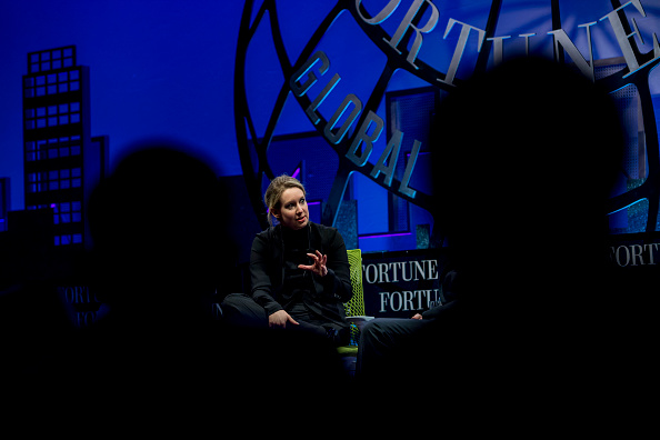 Billionaire Elizabeth Holmes, founder and chief executive officer of Theranos Inc., speaks during the 2015 Fortune Global Forum in San Francisco, California, U.S., on Monday, Nov. 2, 2015. The forum gathers Global 500 CEO's and innovators, builders, and technologists from some of the most dynamic, emerging companies all over the world to facilitate relationship building at the highest levels. Photographer: David Paul Morris/Bloomberg via Getty Images