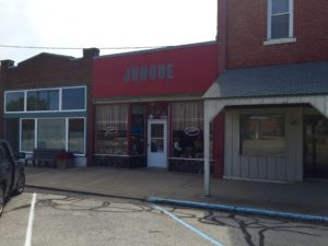 "Our old dime store is now a ""Junque"" shop."