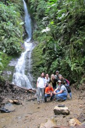 Most of our team at the waterfall
