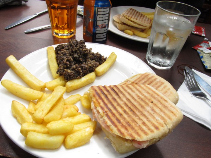Haggis, Irn Bru, a panini and chips at a pub