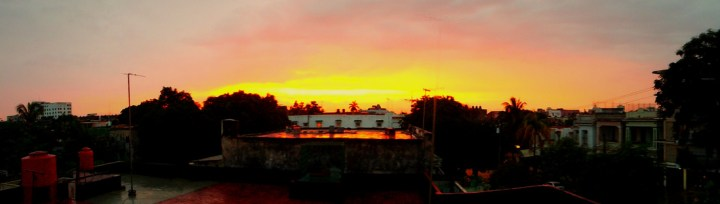 Sunset from out the window at my casa particular in Vedado