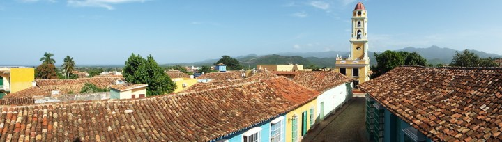 The iconic church tower of Trinidad, Cuba