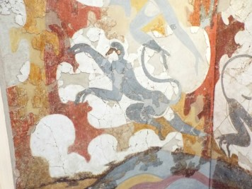 Blue monkeys fresco at Museum of Prehistoric Thera