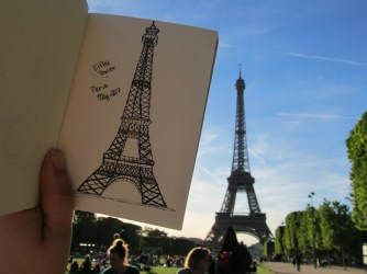 Sketching at the Eiffel Tower