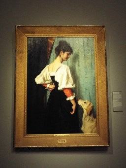 """""""Portrait of a Young Woman, with 'Puck' the Dog"""" by Therese Schwartz sidenote: I love how many women include their dogs in their portraits!"""