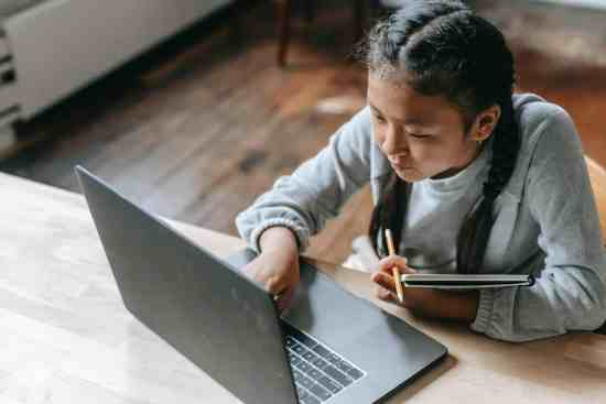 focused young asian girl studying on wireless laptop