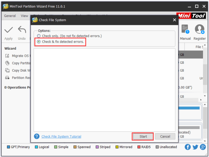 repair hard drive with Minitool Partition Wizard