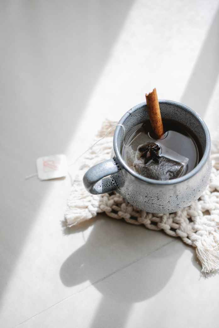 mug with hot aromatic beverage