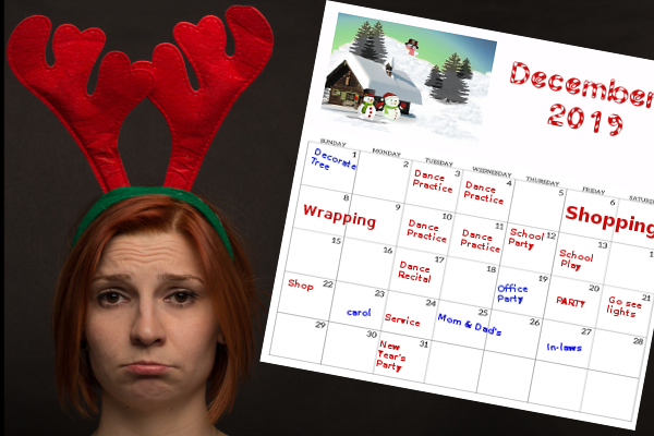 Woman red antlers sad about full December calendar