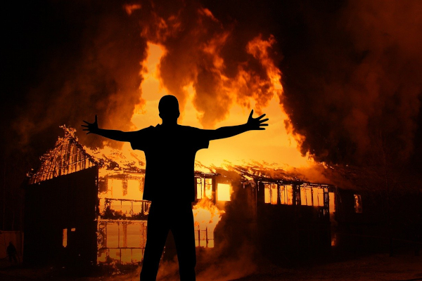 Man excited about a house burning down.
