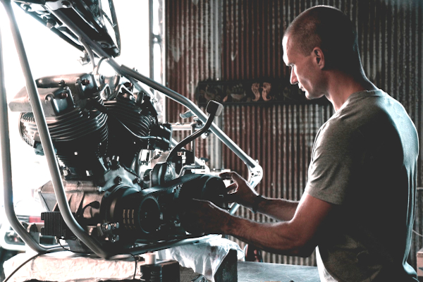 Man rebuilding an engine